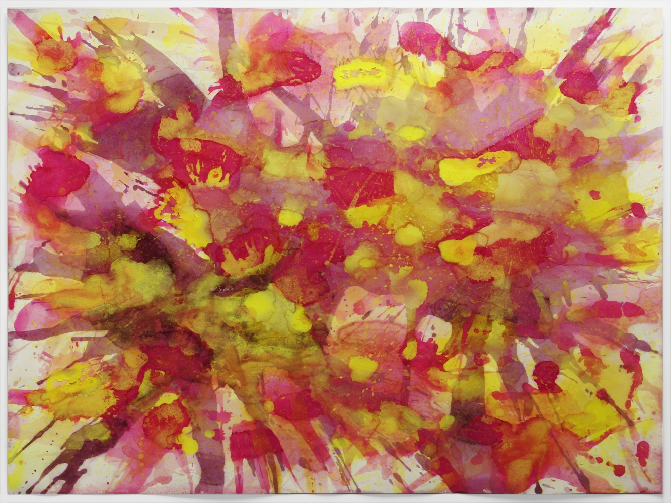 j. Steven Manolis, Montauk Sunrise 2014.02, watercolor and gouache on paper, 30 x 40 inches, Red Abstract Art, Abstract Expressionism art for sale at Manolis Projects Art Gallery, Miami, Fl