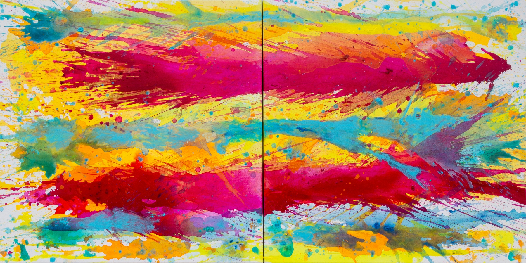 J. Steven Manolis, Biscayne Bay-Sun, Water & Sky 2014.04 (diptych), acrylic on canvas, 36 x 72 inches, Abstract Tropical Painting, Miami Wall art For sale at Manolis Projects Art Gallery, Miami Fl