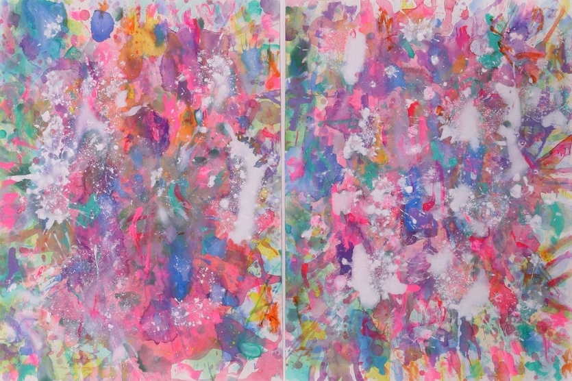 J. Steven Manolis, Color Matters, 2016, Watercolor painting on paper, 36 x 48 inches, Colorful Abstract paintings For sale at Manolis Projects Art Gallery, Miami Fl