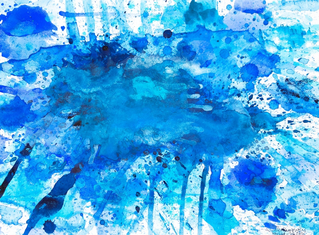 J. Steven Manolis, Splash-Key West (12.16.05), 2016, Watercolor, Acrylic and Gouache on paper, 12 x 16 inches, blue abstract watercolor, abstract expressionism art