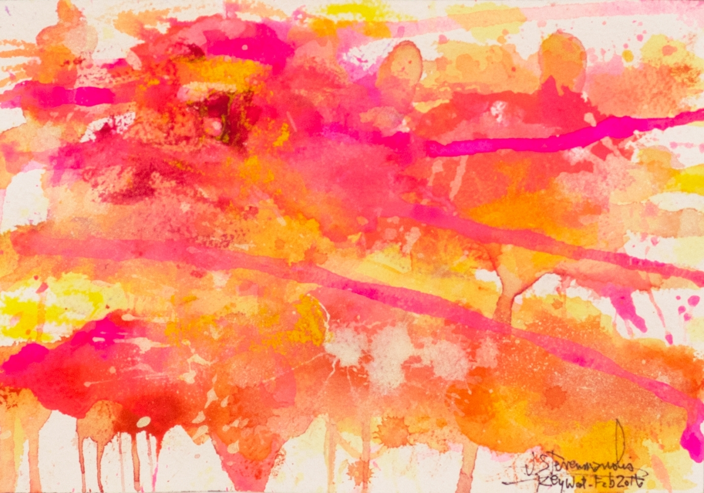 J. Steven Manolis, Flamingo 1832-2016 (Key West) 7.10.02, watercolor painting on paper, 7 x 10 inches, Pink and orange Abstract Art, Tropical Watercolor paintings for sale at Manolis Projects Art Gallery, Miami, Fl