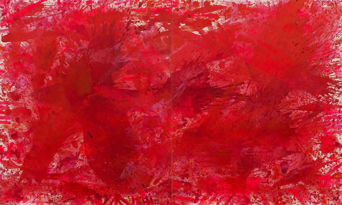 J. Steven Manolis, Redworld, 2015, 72 x 120 inches, 2015.01, Red Abstract Art, Large Abstract Wall Art for sale at Manolis Projects Art Gallery, Miami, Fl