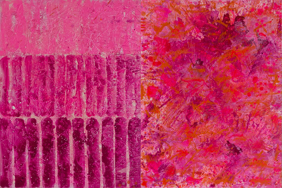 J. Steven Manolis, Flamingo 1832-2016, 2016, Acrylic painting on canvas, 48 x 72 inches, Pink Abstract Art, Gestural Abstraction
