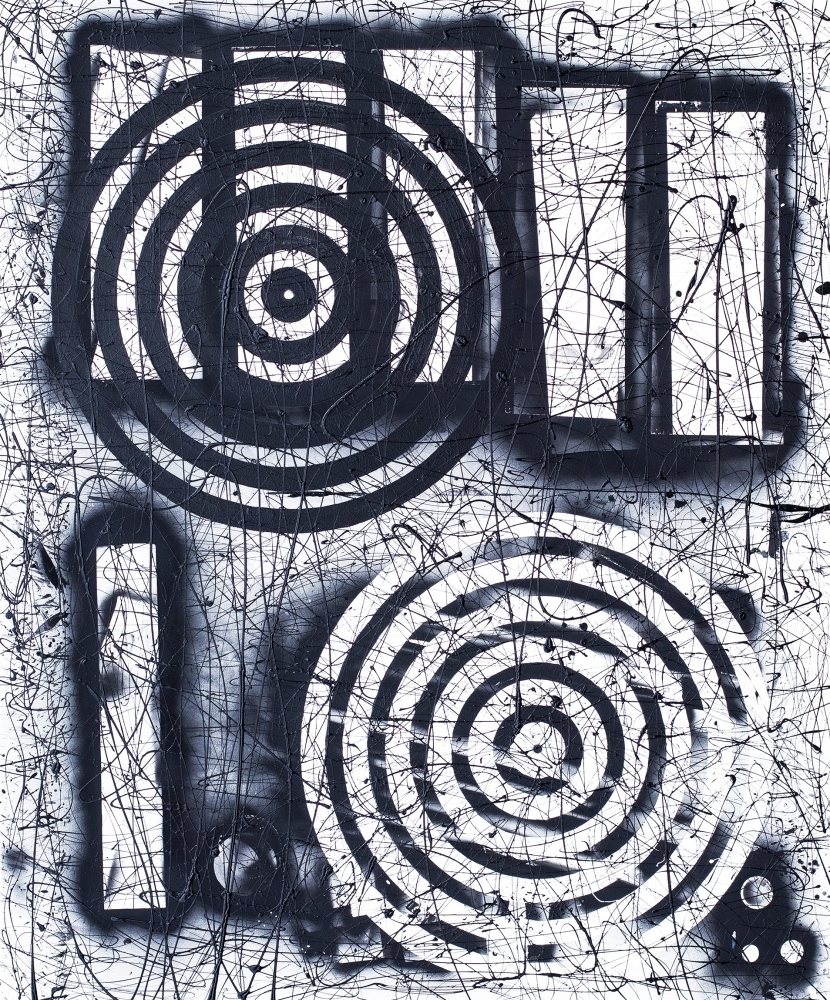 J. Steven Manolis, Black & White Shadowbox, 2019, Acrylic on canvas, 72 x 60 inches, Large Black and White Wall Art, Abstract expressionism art for sale at Manolis Projects Art Gallery, Miami, Fl