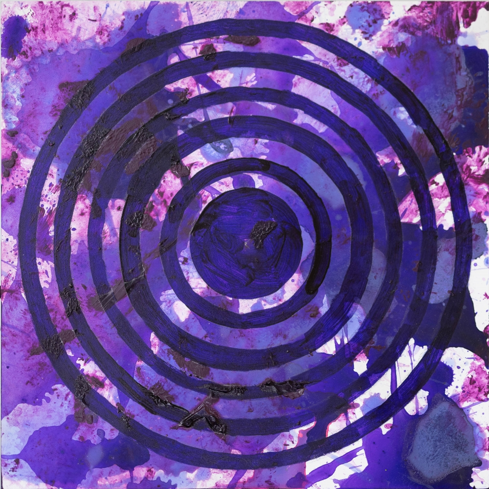 J. Steven Manolis, PurpleFields (Concentric) 2, 2020, Acrylic on woodblock, 12 x 12 inches, purple abstract expressionism art