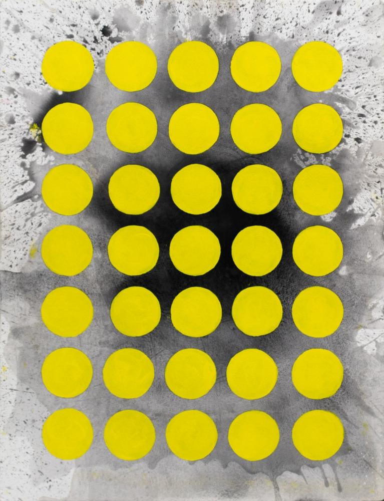 J Steven Manolis, Sunshine (The Light After the Darkness)(30.22.02), 2020, Watercolor and  acrylic on arches paper, 30 x 22 inches, Sunshine art, Yellow and black Abstract Art for Sale at Manolis Projects Art Gallery, Miami Fl