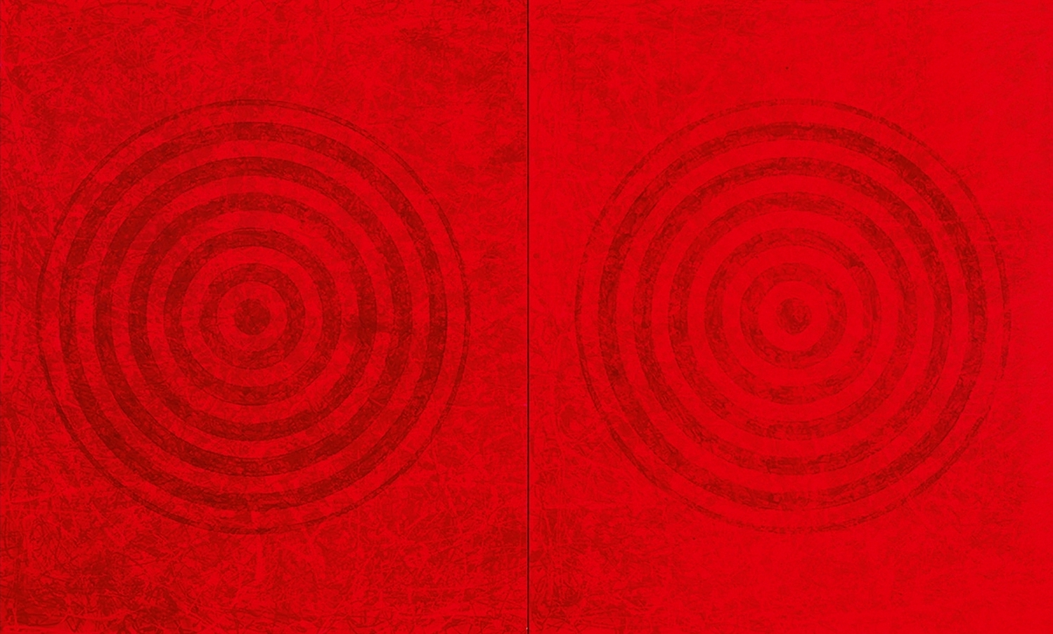 J. Steven Manolis, Redworld-Concentric, 2016, 72 x 120 inches, 72.120.01, Red Abstract Art, Large Abstract Wall Art for sale at Manolis Projects Art Gallery, Miami, Fl