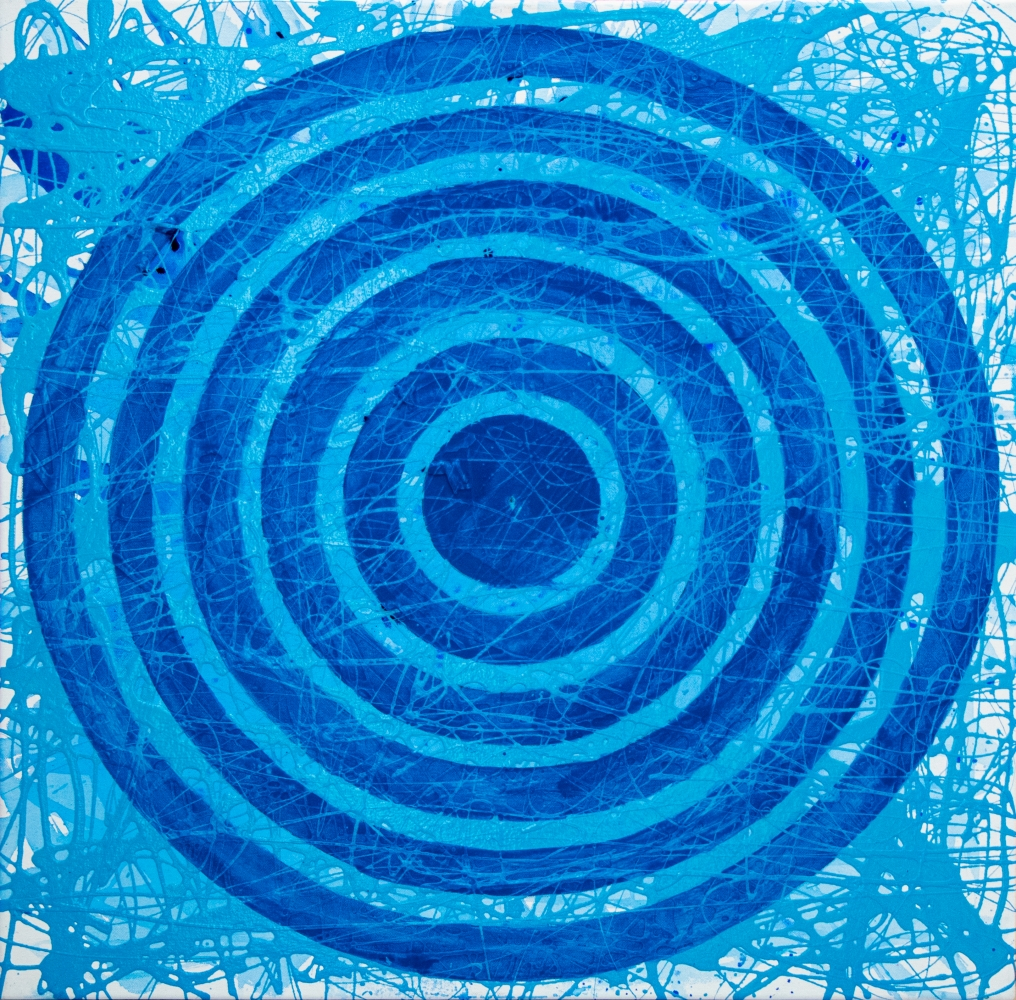J. Steven Manolis, Concentric Blue Sky, 2020, 30 x 30 inches, Acrylic paintingl on Canvas, geometric abstraction, Abstract expressionism art for sale at Manolis Projects Art Gallery, Miami, Fl