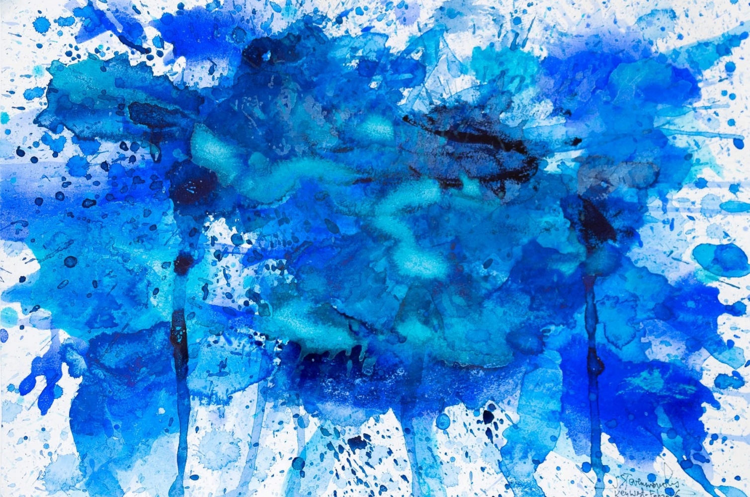 J. Steven Manolis, Splash-Key West (12.16.02), 2016, Watercolor, Acrylic and Gouache on paper, 12 x 16 inches, blue abstract expressionism art