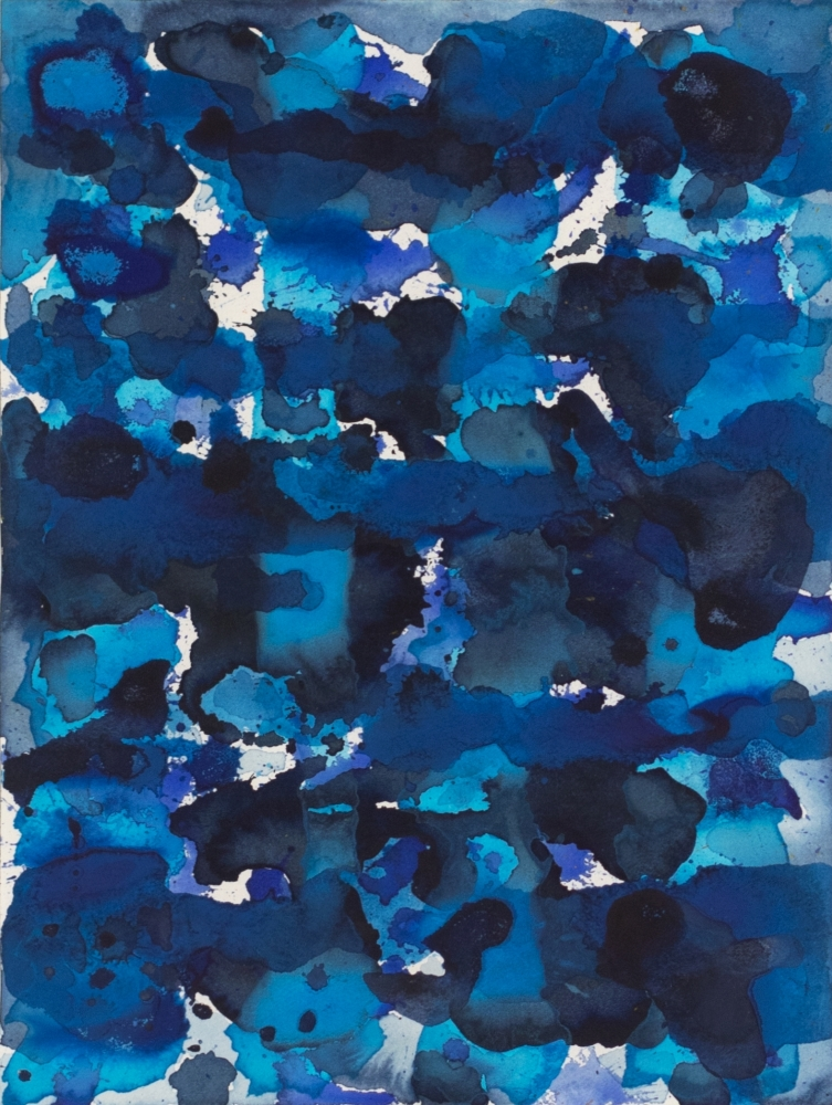 J. Steven Manolis, Deep Pacific Blue, 2007, watercolor painting on paper, 12 x 16 inches, Blue abstract art, Abstract expressionism art for sale