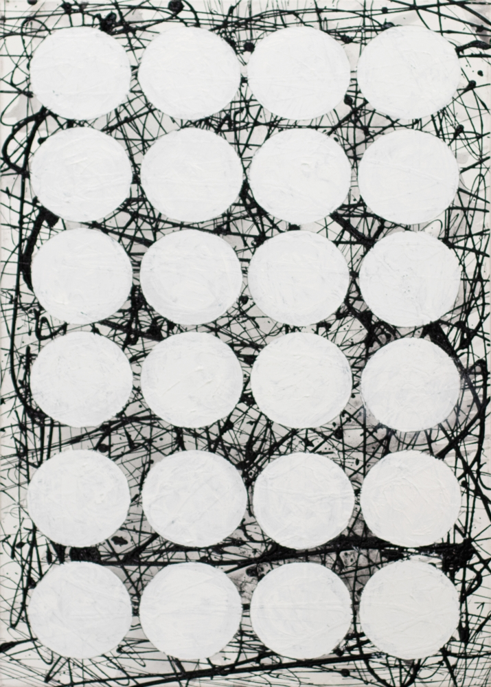 """J. Steven Manolis,  BLACK & WHITE (white GRAPHIC) 2020, 48""""H X 36""""W, Acrylic and latex on canvas, for sale"""