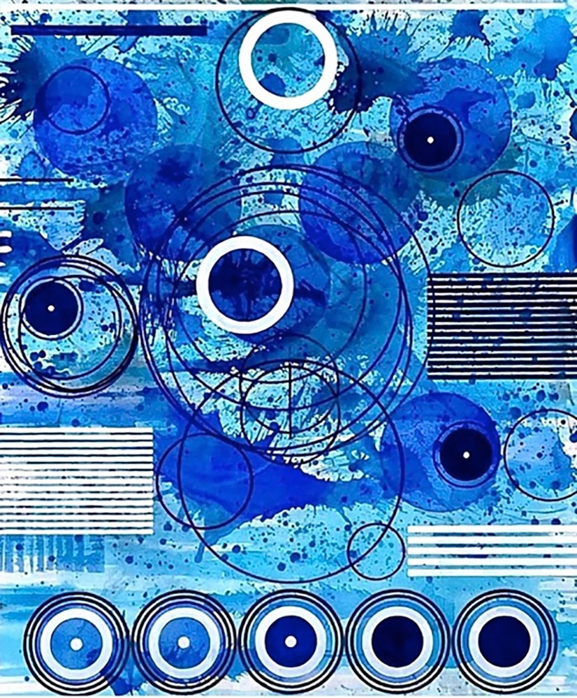 J. Steven Manolis, SPLASH (Concentric) 2019, 72 x 60 inches, Acrylic paintings on Canvas, Extra large Wall Art, Blue Abstract Art for sale at Manolis Projects Art Gallery, Miami, Fl