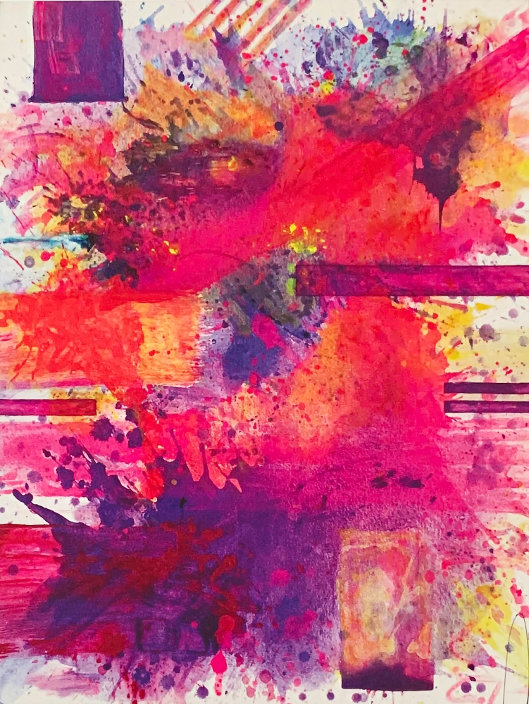 j. Steven Manolis, Lavender and Pink Sunset without Symbology, 2019, Acrylic painting on canvas, 48 x 36 inches, Gestural Abstraction, Abstract expressionism art for sale at Manolis Projects Art Gallery, Miami, Fl