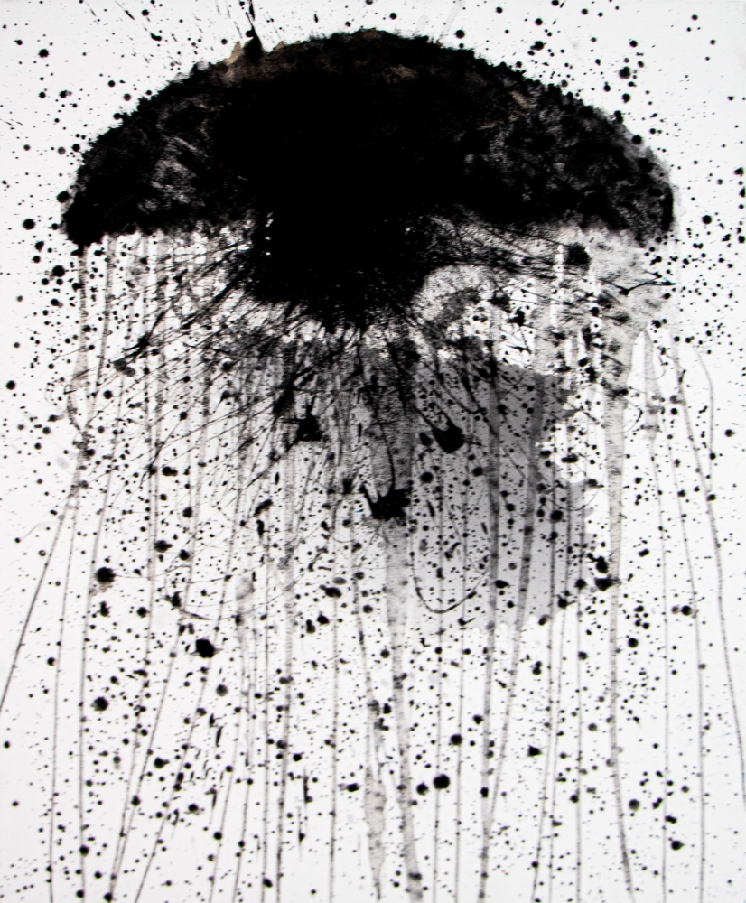 J. Steven Manolis, Jellyfish (Black), 2020, acrylic painting on canvas, 40 x 30 inches, Jellyfish paintings For sale at Manolis Projects Art Gallery, Miami, Fl