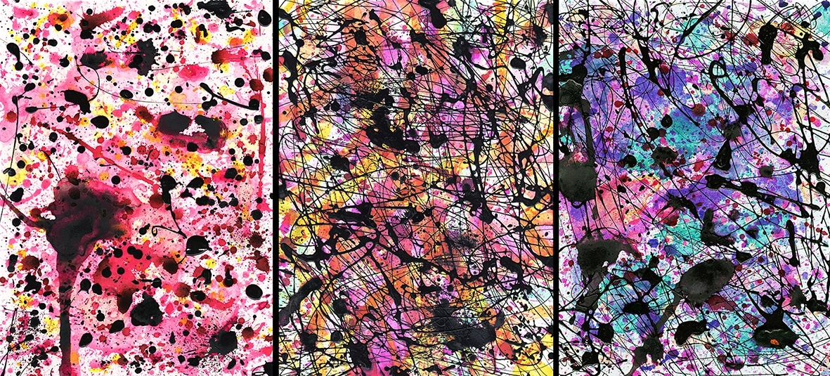 J. Steven Manolis, Chaos Fantasio 2003.01 (LeftPanel)-gouache, watercolor and enamel on paper, 14.125 x 10.25 inches, For sale at Manolis Projects Art Gallery, Miami Fl