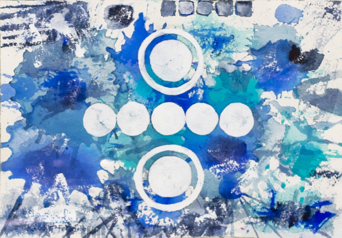 J. Steven Manolis, Key West (Social Consciousness) 07.10.05, 2016, Watercolor painting on paper, 7 x 10 inches, Blue Abstract Art, Splash Art for sale at Manolis Projects Art Gallery, Miami, Fl