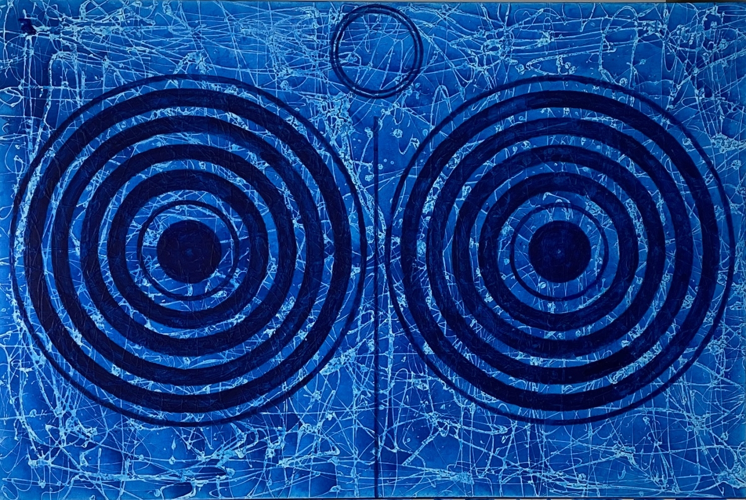 J. Steven Manolis, Splash (Concentric), 2018, Acrylic painting on canvas, 60 x 72 inches, Extra large Wall Art, Blue Abstract Art for sale at Manolis Projects Art Gallery, Miami, Fl