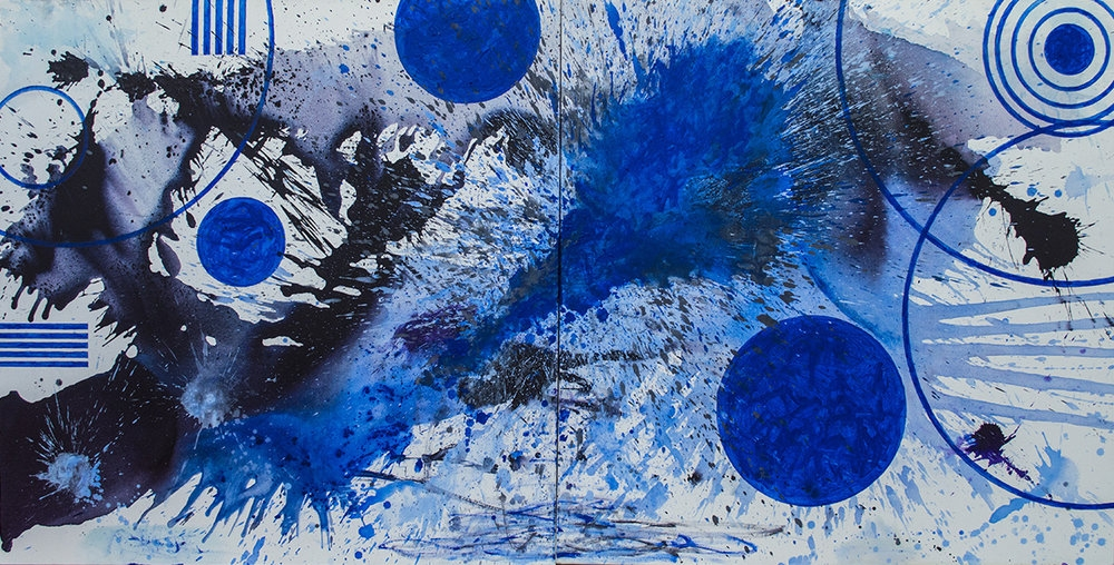 J. Steven Manolis, Prairie Moon, 2017, Acrylic painting on canvas, 60 x 120 inches, Blue Abstract Art, Abstract expressionism art for sale