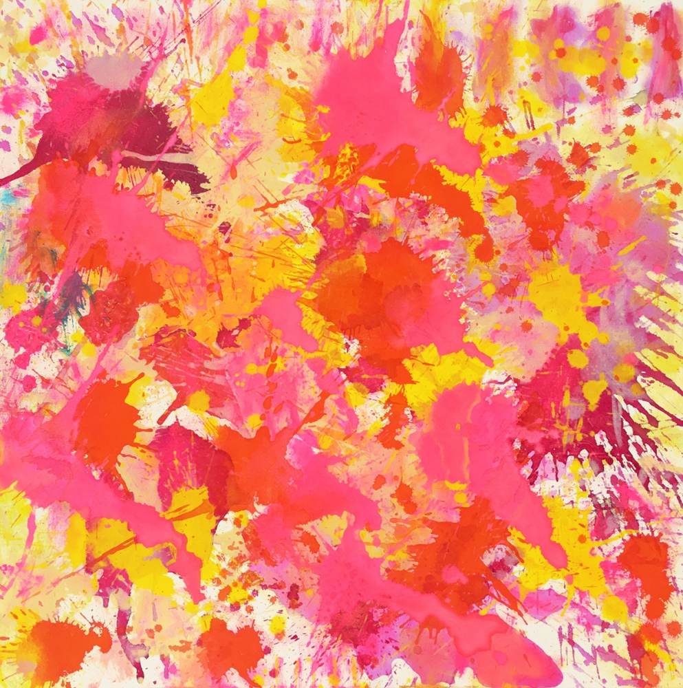 J. Steven Manolis, Flamingo (sun-filled), Acrylic on canvas, 30 x 30 inches, Flamingo Art, Abstract expressionism art for sale at Manolis Projects Art Gallery, Miami, Fl