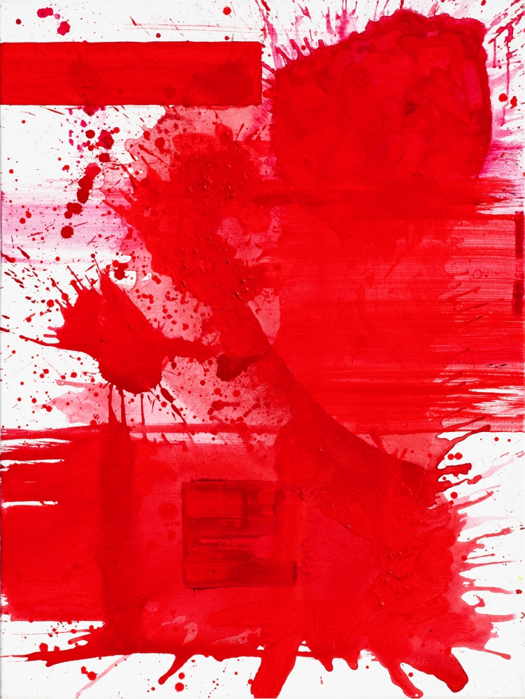 J. Steven Manolis, Palm Beach Light - REDWORLD Sunset, 2019, Acrylic painting on canvas, 40 x 30 inches, Red abstract painting, Gestural abstract art for sale at Manolis Projects Art Gallery, Miami, Fl