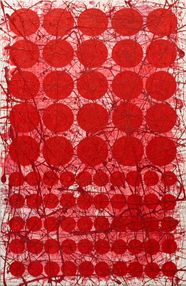 J. Steven Manolis, REDWORLD (Graphic), 2020, acrylic on canvas, 40 x 30 inches, Red Abstract Painting, Abstract expressionism art for sale