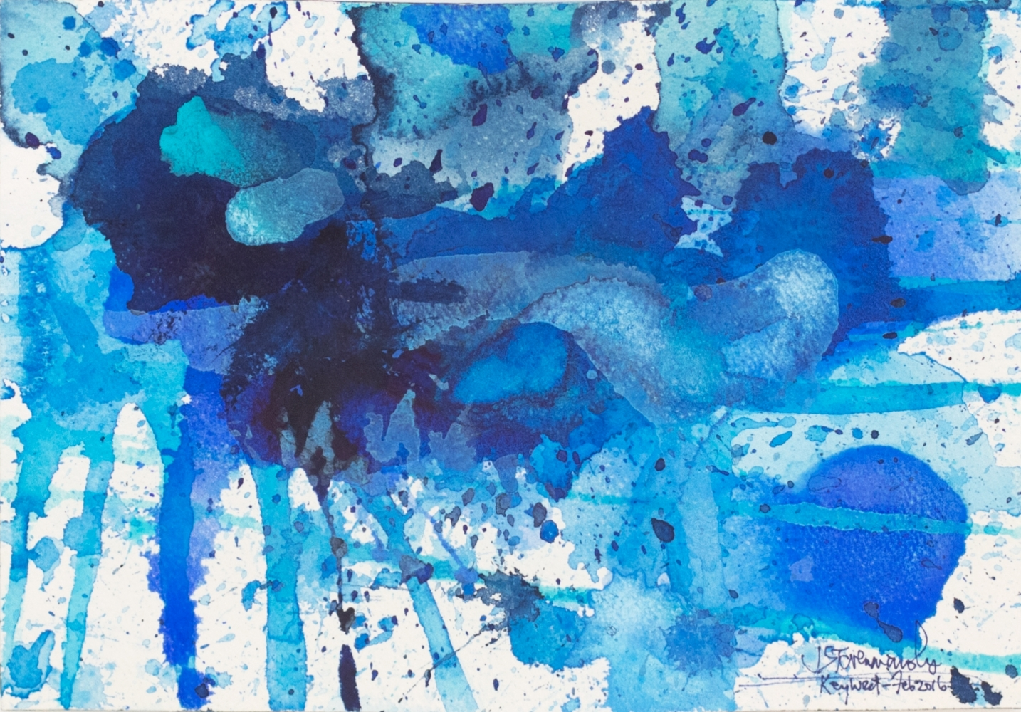 J. Steven Manolis, Splash (Key West) 07.10.06, Watercolor painting Arches paper, 2016, 7 x 10 inches, Blue Abstract Art, Splash Art for sale at Manolis Projects Art Gallery, Miami, Fl
