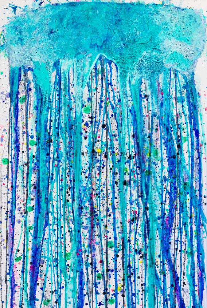 J. Steven Manolis, Jellyfish 48.30.01, 2014, 48 x 30 inches, Acrylic Jellyfish painting, Jellyfish paintings for sale at Manolis Projects Art Gallery, Miami, Fl