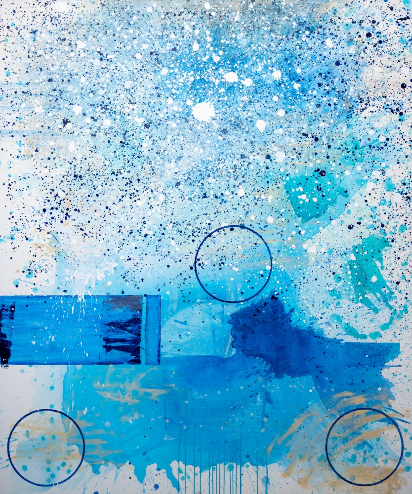J. Steven Manolis, Water's Edge (On the Beach), 2019, Acrylic on canvas, 72 x 60 inches, blue abstract expressionism art
