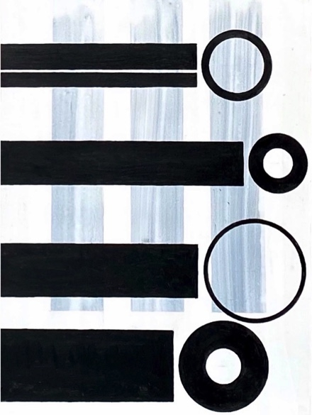 J. Steven Manolis,  Family Portrait, 2020, 48 x 36 inches, Acrylic on canvas, Black and White Abstract painting, Abstract expressionism art for sale at Manolis Projects Art Gallery, Miami, Fl