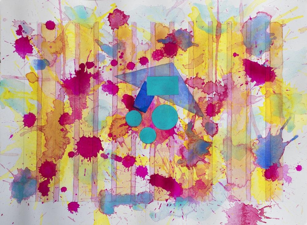 J. Steven Manolis, Santa Fe (Cornucopia), 2016, Watercolor on paper, 12 x 16 inches, For sale at Manolis Projects Art Gallery, Miami Fl