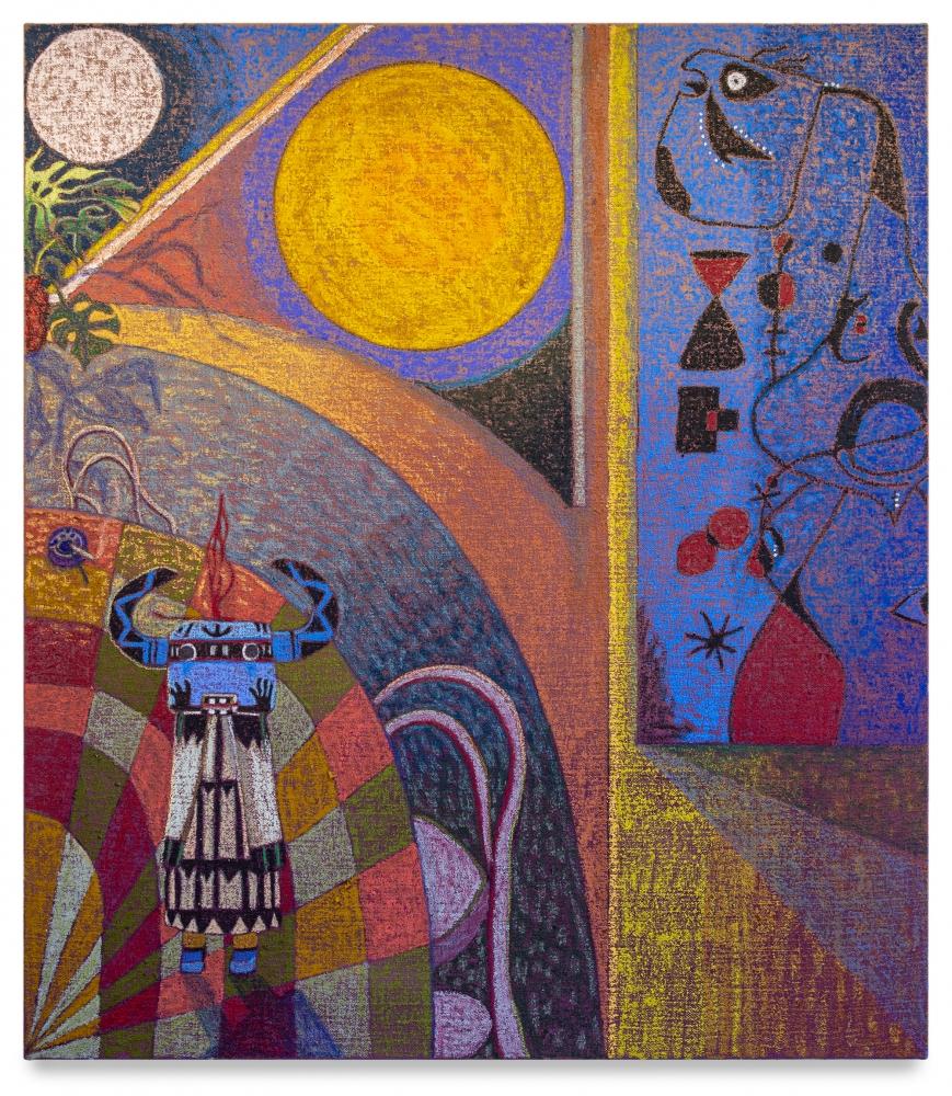 JJ Manford, Moon and Sun / Interior with Kachina Doll & Joan Miro, 2020