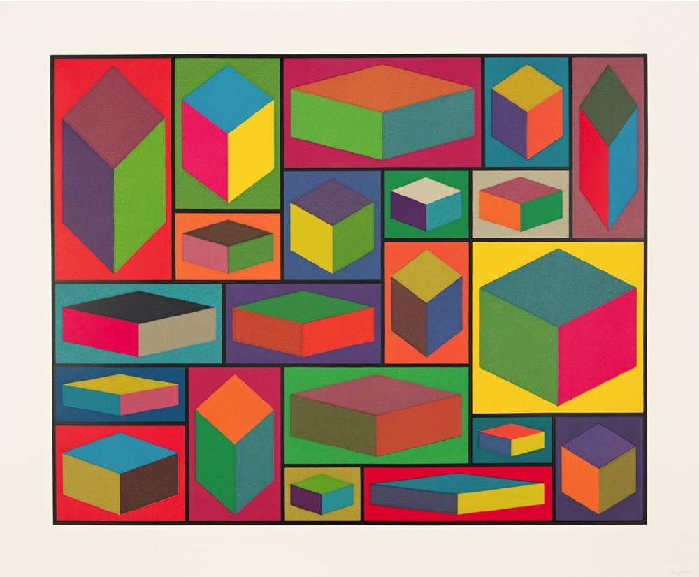 Sol Lewitt, Distorted Cubes (D), 2001