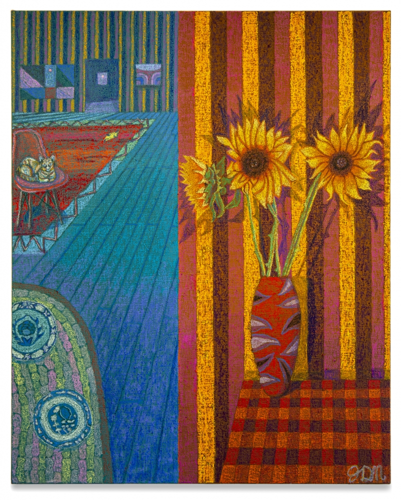 JJ Manford Interior with Sunflowers, 2019