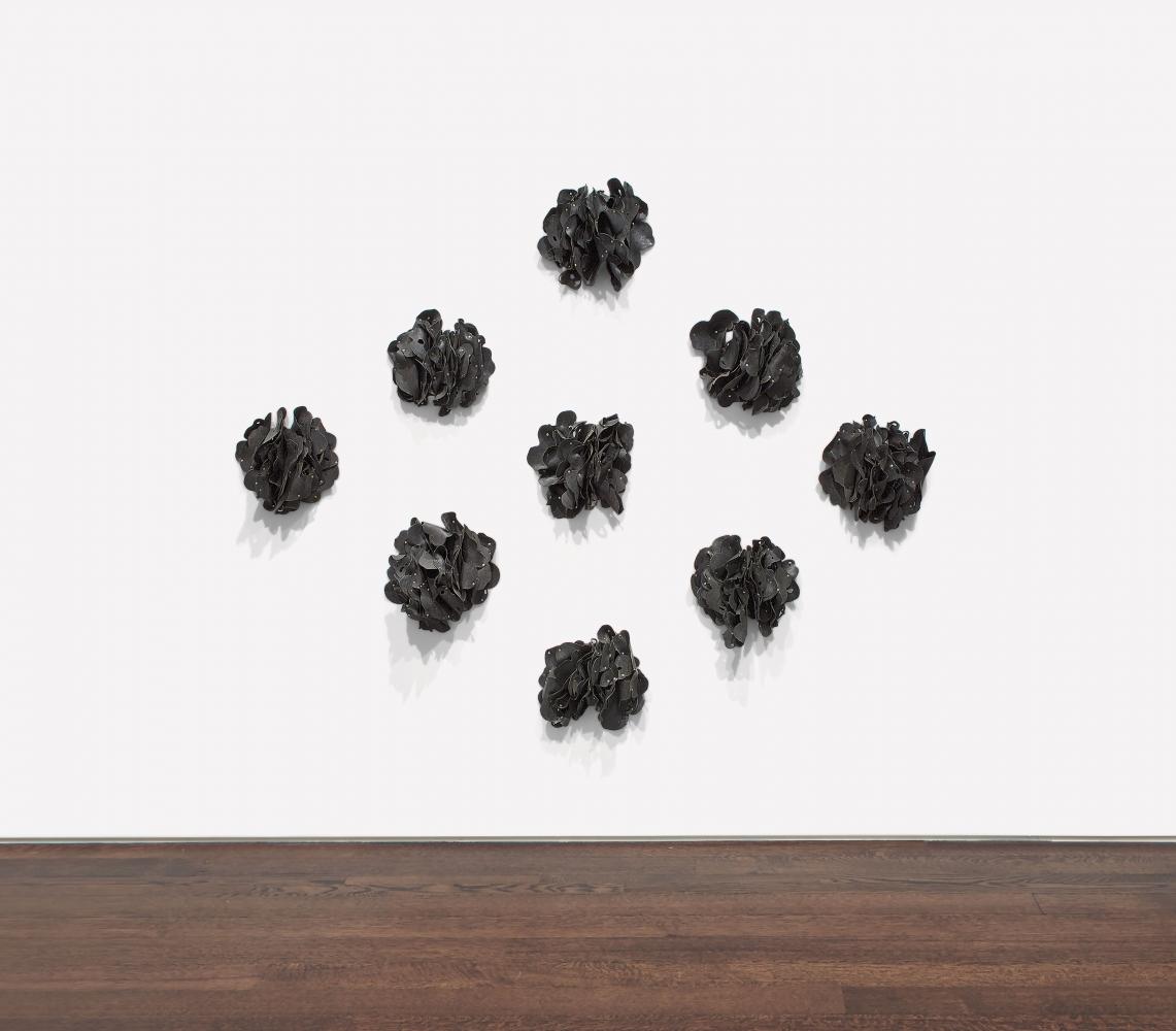 Hannah Wilke Ponder-r-rosa 1, 1974 Latex, metal snaps, and push pins 70 x 98 inches (177.8 x 248.9 cm)