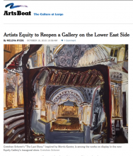 ArtsBeat, The New York Times, Artists Equity to Reopen a Gallery on the Lower East Side By MELENA RYZIK, October 16, 2015