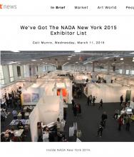 ARTNET, We've Got The NADA New York 2015 Exhibitor List, March 11, 2015 by Cait Munro