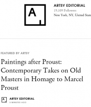 ARTSY Editorial |  Paintings after Proust: Contemporary Takes on Old Masters in Homage to Marcel Proust by Casey Lesser