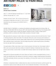 ART 3 at NADA NEW YORK Presents ANTHONY MILER: 12 PAINTINGS by Matthew Paulson, April 27, 2015