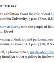 The New York Times City Blog, April 29, 2015 by Tatiana Schlossberg