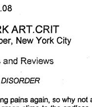 NEW YORK ART CRIT, Diagram of Disorder by John Haber, May 22, 2008