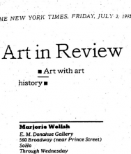 THE NEW YORK TIMES, Art in review, Marjorie Welish by Holland Cotter
