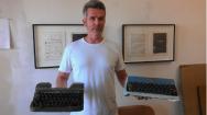 "Performing Charles Bukowski's ""Post Office"" on a typewriter"