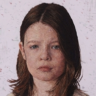 Embroidery and acrylic paint portrait of young caucasian girl with brown hair and purple background