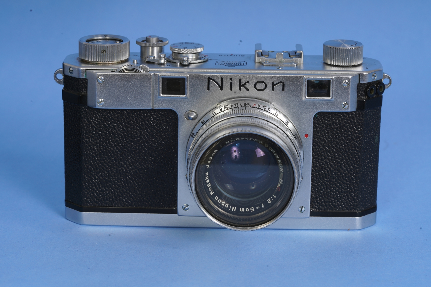 Nikon S Silver Camera Serial Number #6110074 with Nikkor F2