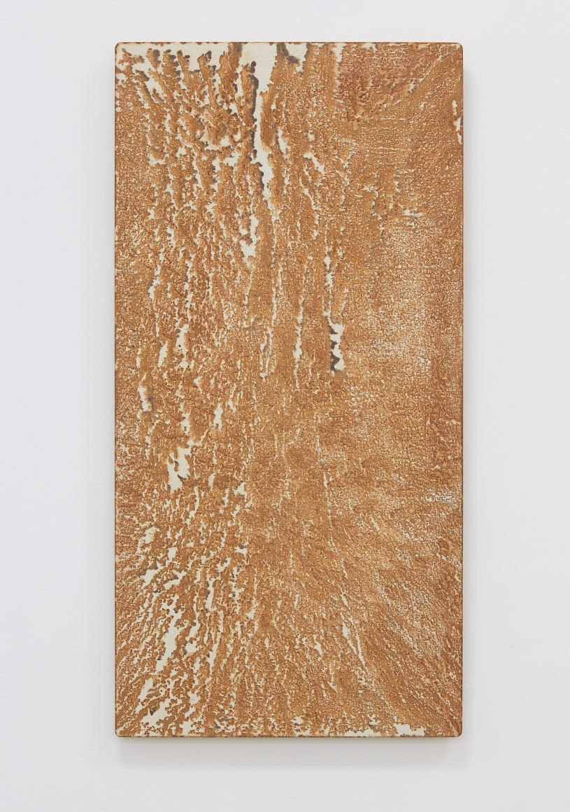 Relation-Quality, 1981 Cotton cloth, iron, rainwater and wooden panel