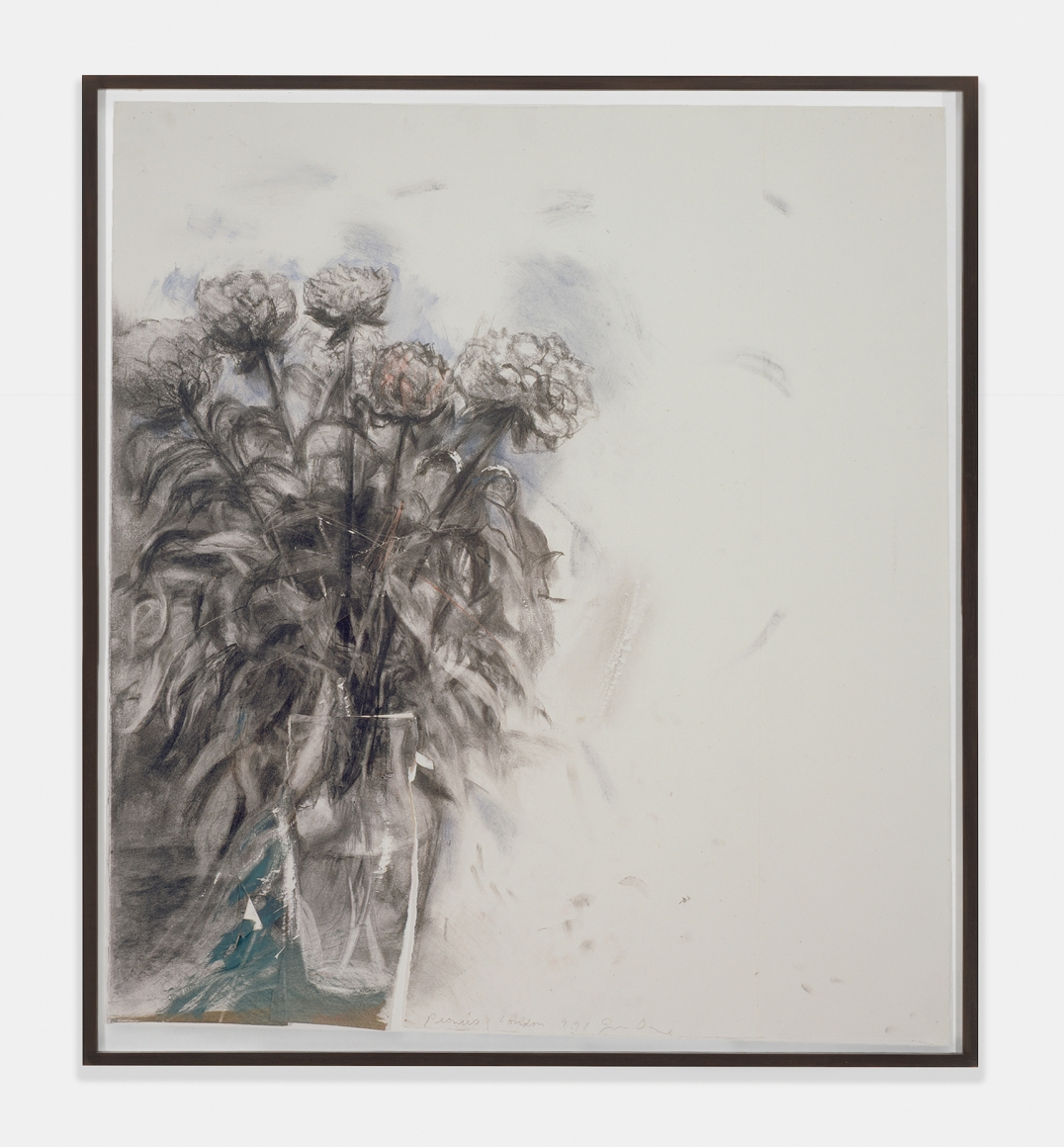 Peonies, Summer 1991, 1991, Charcoal, pencil, colored pencil, oil and watercolor on paper