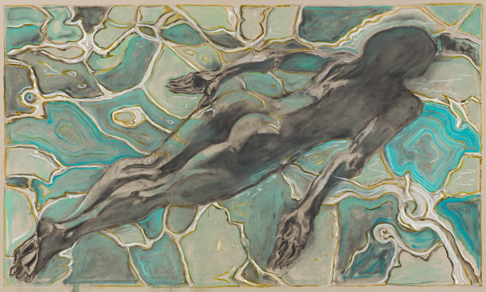 BILLY CHILDISH, swimmer under water, 2019
