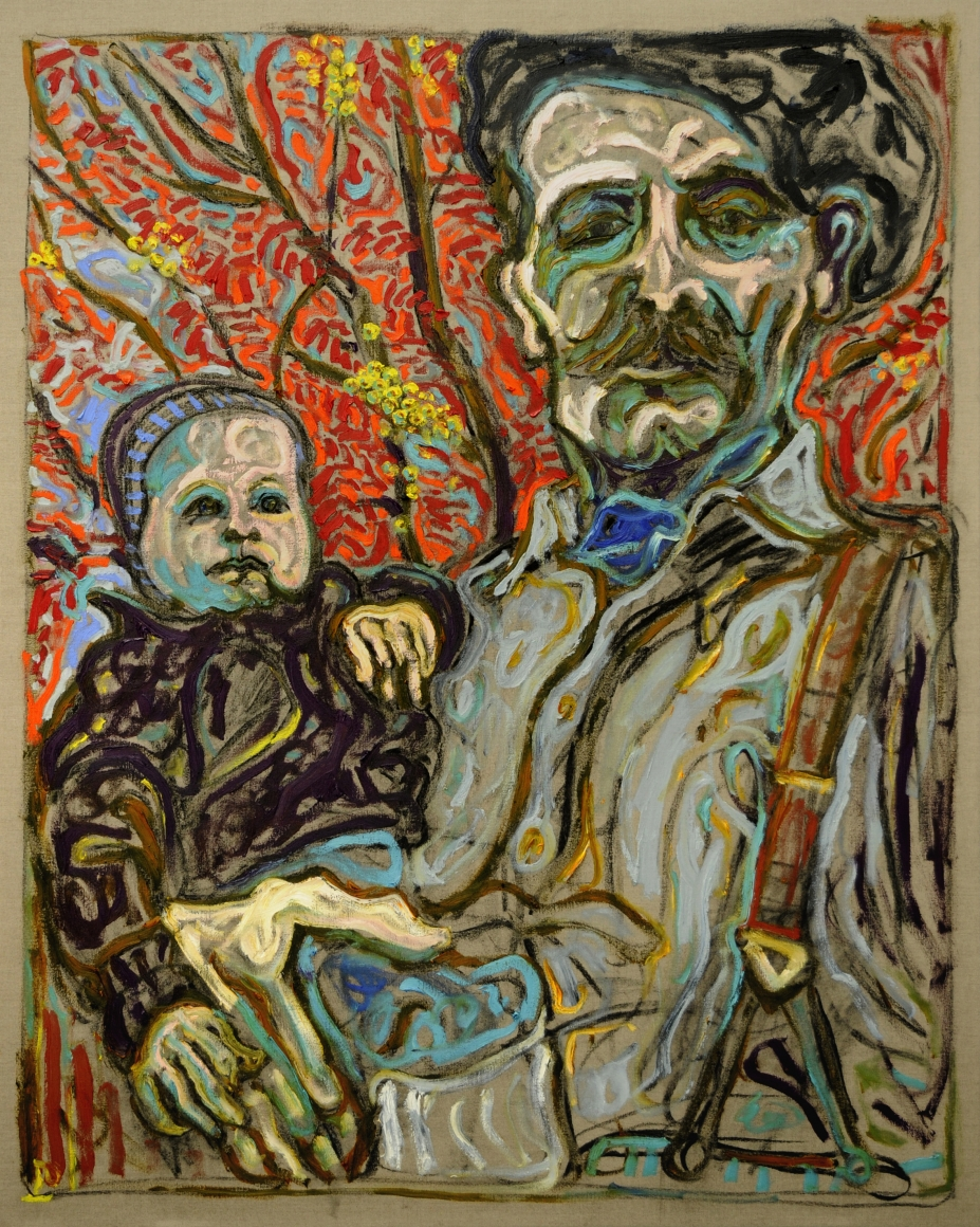 BILLY CHILDISH With Scout Under Rowan Tree, 2011
