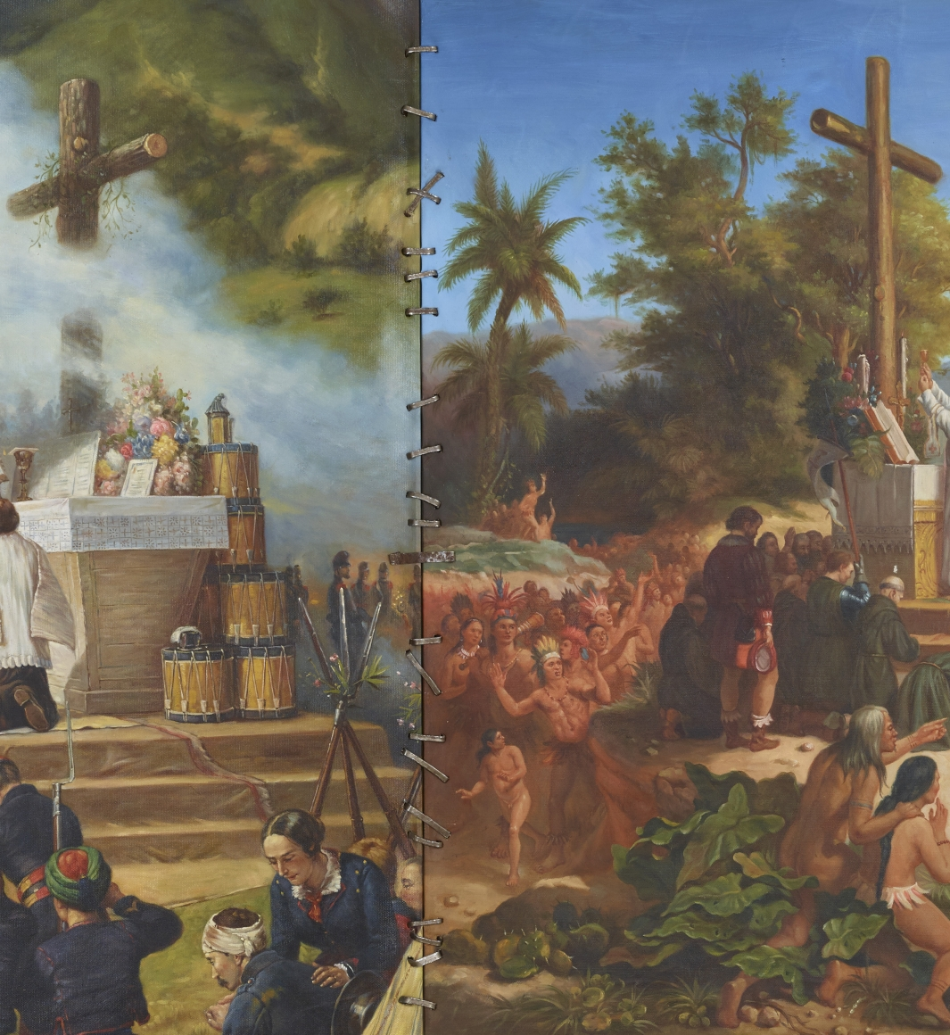 卡德·é˜¿æäºž Colonial Modernity: the first mass in Brazil and Algeria (detail), 2014