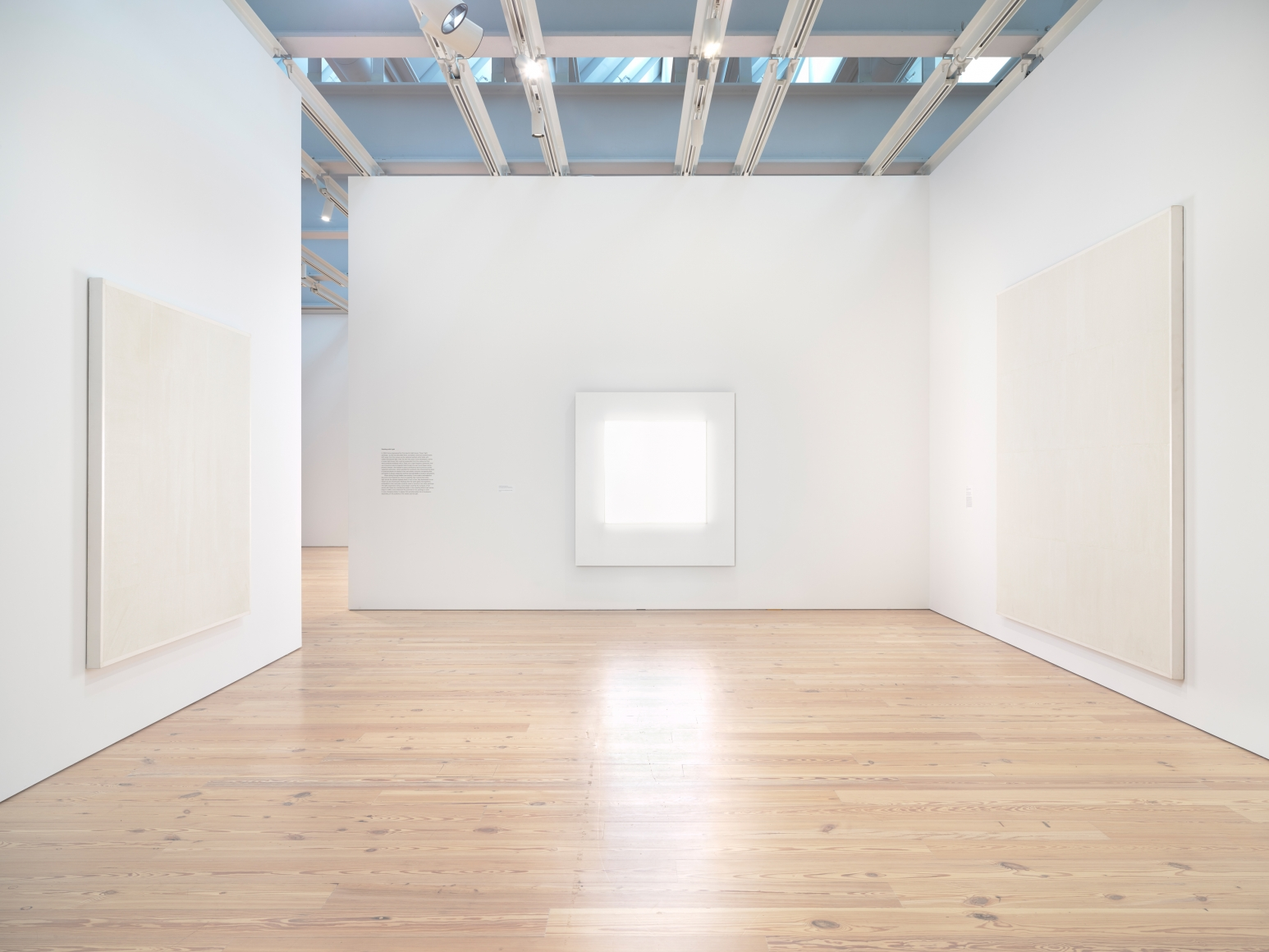 Installation photo of the 2018 exhibition Mary Corse: A Survey in Light at the Whitney Museum of American Art, New York, view 5